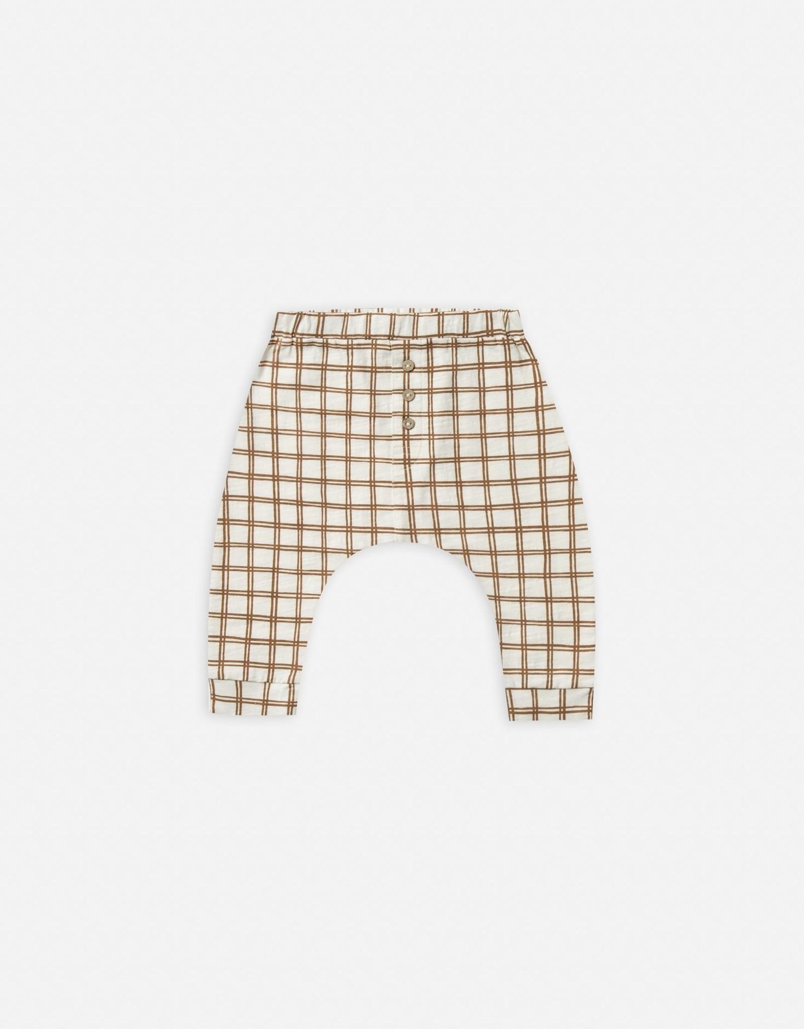 Rylee and Cru Baby Cru slub pant, bronze grid