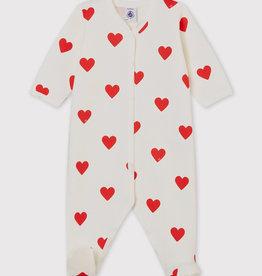 Petit Bateau Heart Ribbed Sleepsuit