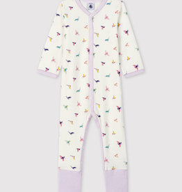 Petit Bateau Ribbed Sleepsuit with Detachable Feet