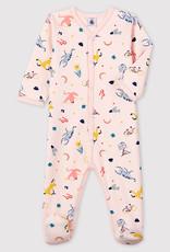 Petit Bateau Animal Print Fleece Sleepsuit