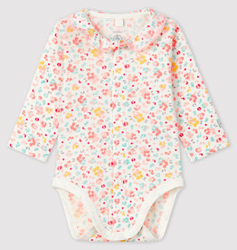 Petit Bateau Floral Ribbed Bodysuit with Collar