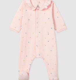 Petit Bateau Pyjama à col, imprimé petits coeurs