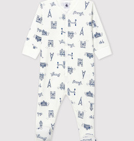 Petit Bateau Babies' Paris Ribbed Sleepsuit