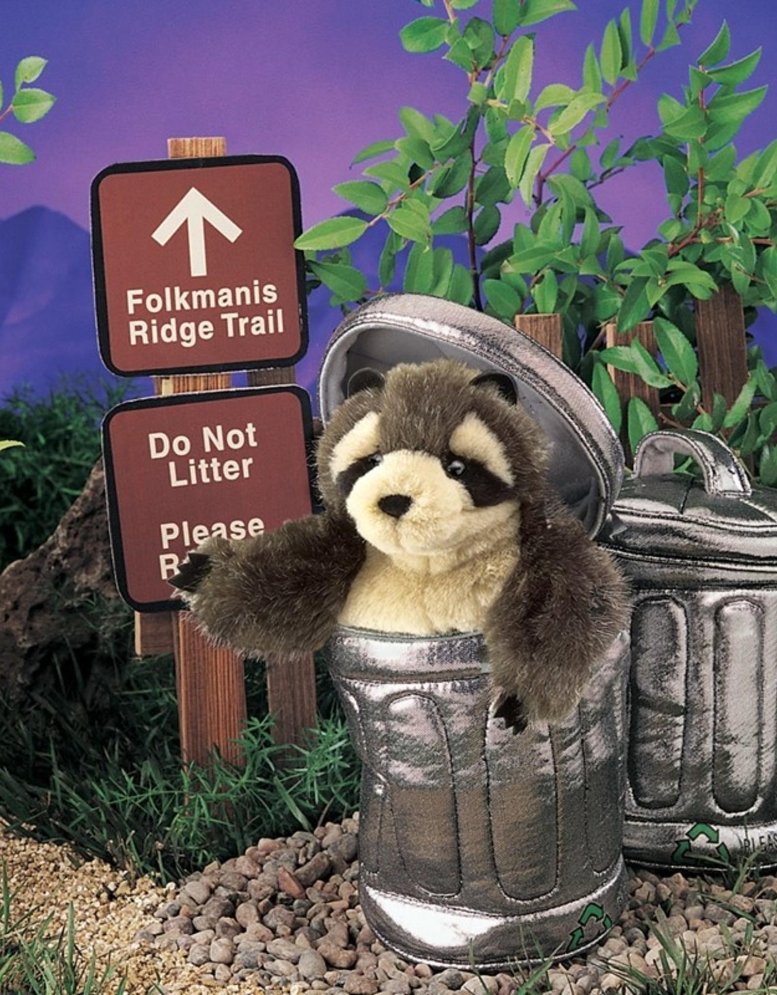Folkmanis Marionnette Raton Laveur dans la poubelle