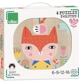 Vilac Suzy Ultman 4 Evolving Puzzles