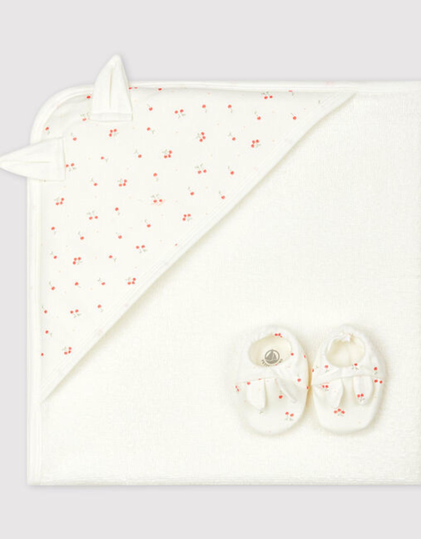 Petit Bateau Babies' Square Bath Towel and Bootees Set