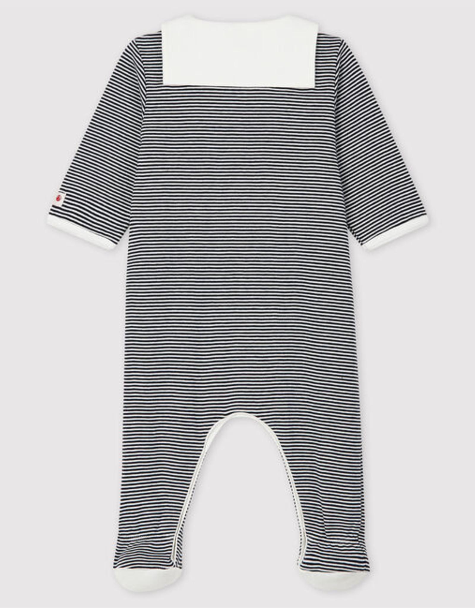 Petit Bateau Babies' Stripy Sleepsuit