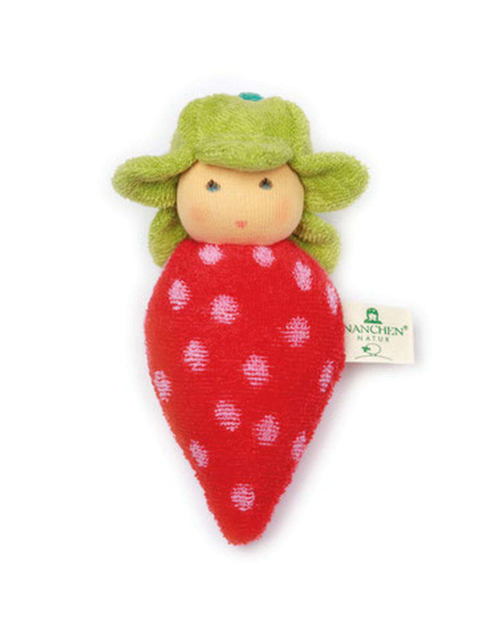 Nanchen Natur Terry Baby Rattle  Strawberry