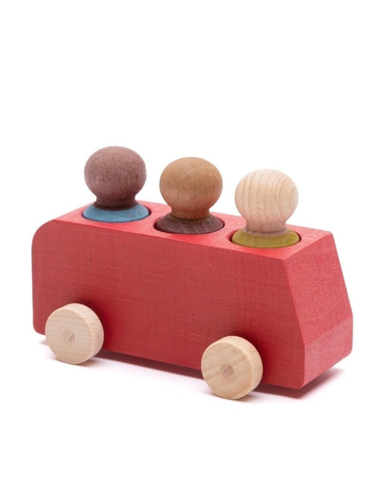 Lubulona  Autobus rouge avec 3 figurines