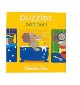 Moulin Roty Set of 3 puzzles Bonjour!