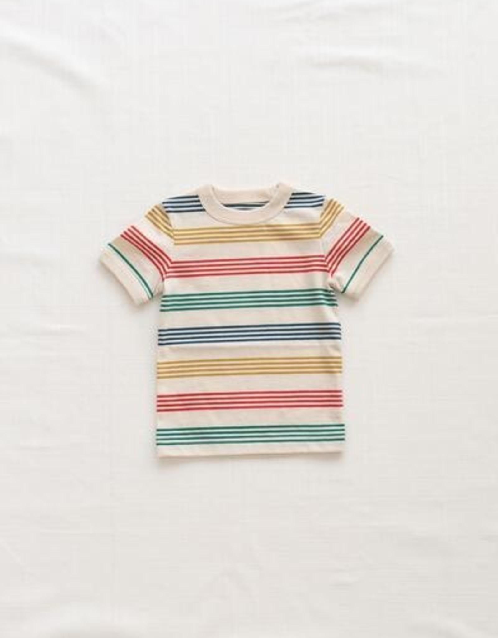 Fin & Vince T-shirt Vintage - Rayures Arc-en-ciel