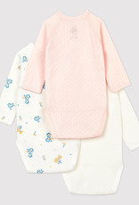 Petit Bateau Babies' Wrapover  Bodysuits 3-pack