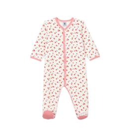 Petit Bateau Babies' Floral Velour Sleepsuit