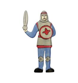 Holztiger Chevalier combattant avec cape bleue