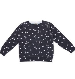 Navy sweater, swans print