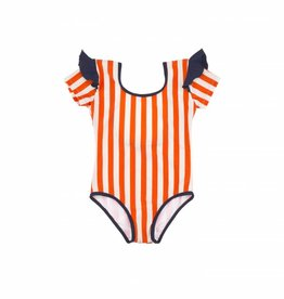 Stripes and frills swimsuit