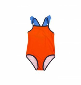 Frill swimsuit, red and blue