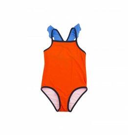 Maillot de bain à volants, rouge et bleu