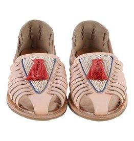 Sandales en cuir à pompons