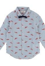 Chemise à noeud papillon, imprimé requins