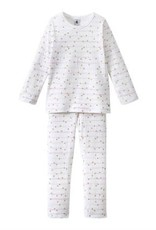 Girls Pajamas With Striped And Gold Polka Dot