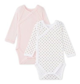Set of 2 Newborn Baby Girl Long Sleeve Bodysuits, Pink and Gold