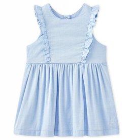 Robe bébé fille bleu oxford