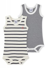 Petit Bateau Set of 2 baby striped bodysuits