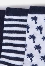 Set of 3 socks, white and navy