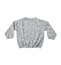 Slouchy pullover sweater, flower field print