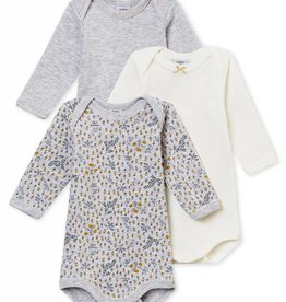 Set of 3 bodies, bird print, grey and cream