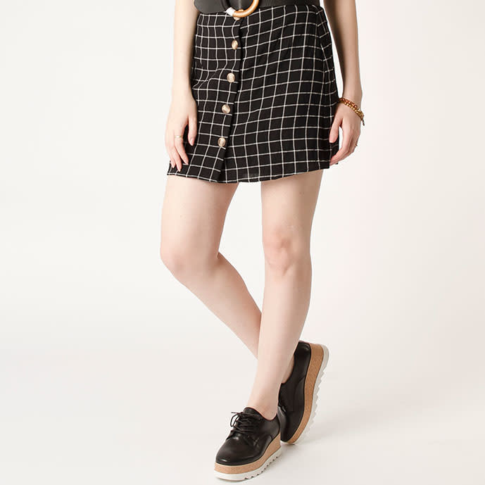 California Moonrise Window Pane Plaid Mini Skirt