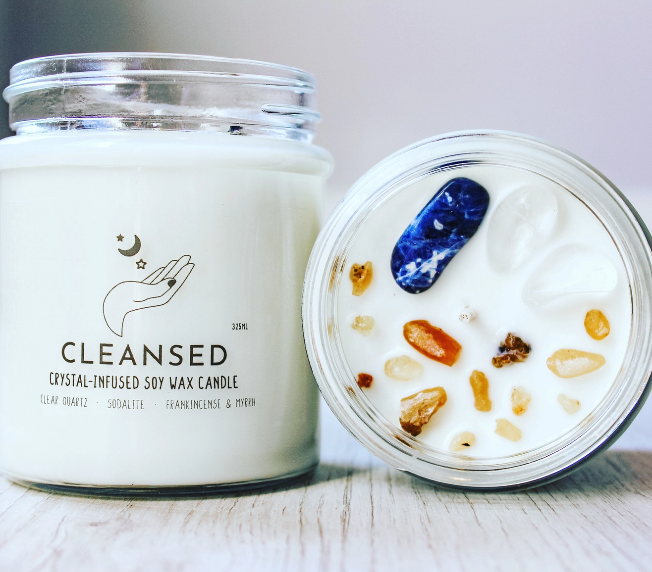 Nature's Artifacts Cleansed Crystal Charge Candle