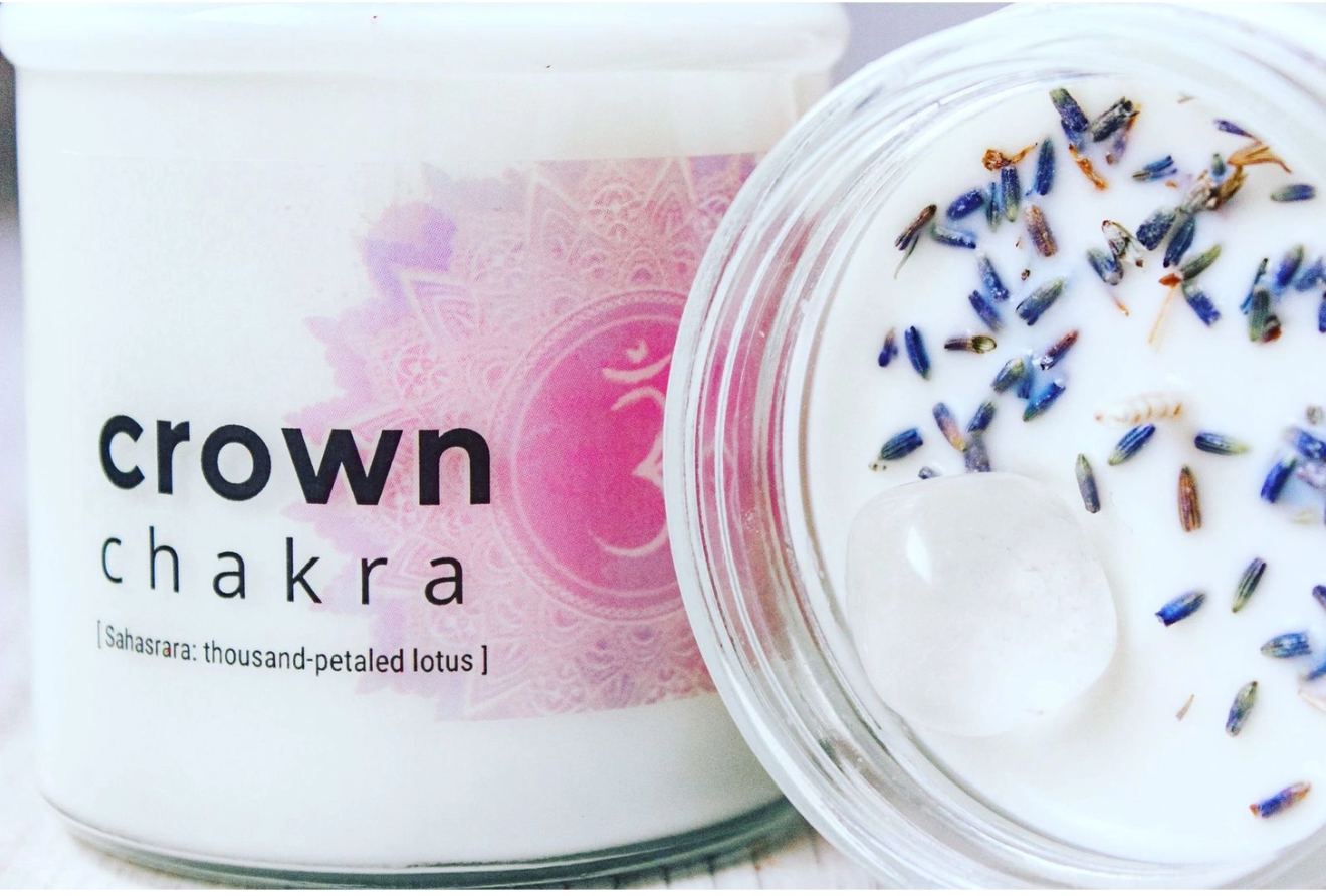 Nature's Artifacts Crown Chakra Crystal Candle for Seventh