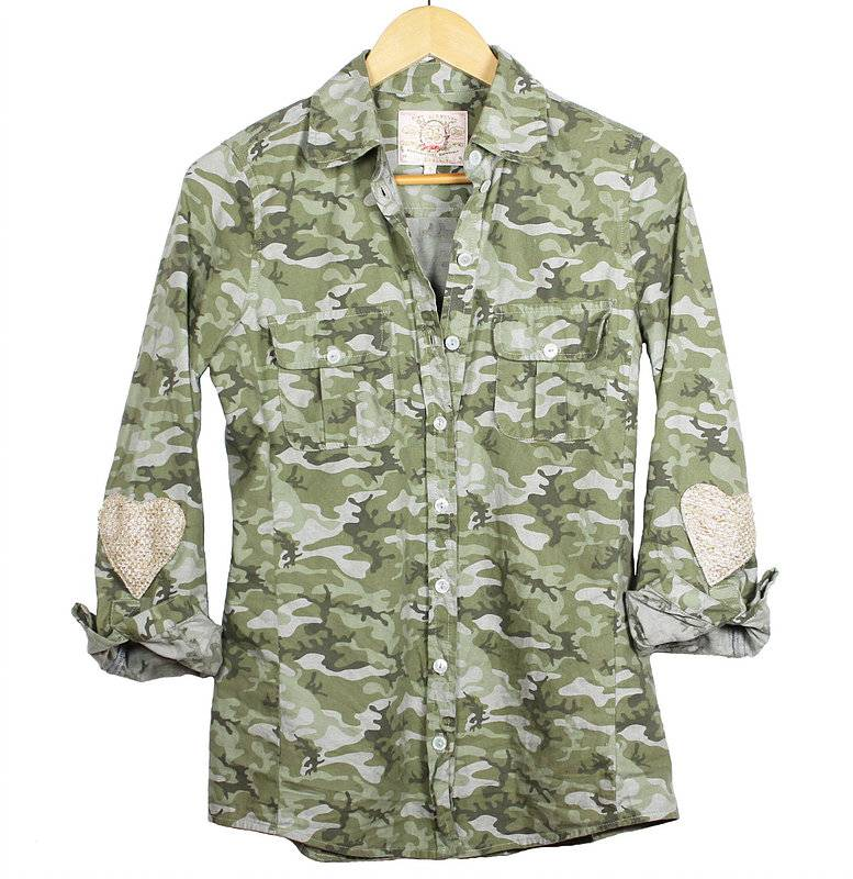 Bell Camo Shirt With Heart Patches