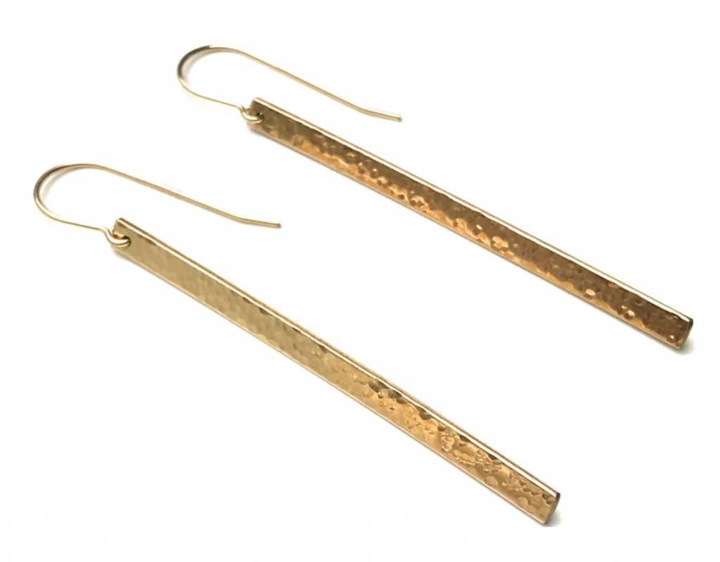 """SOUL PEPPER 2"""" Hammered Bar Earrings"""