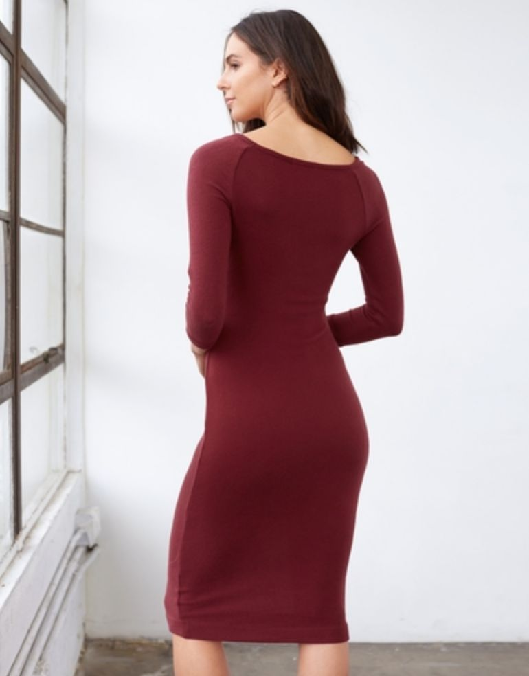 3DOTS Brushed Sweater Ribbed Dress
