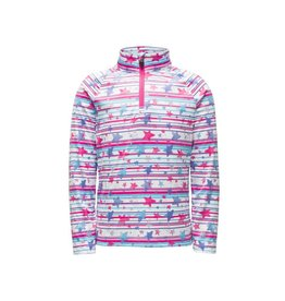 Spyder 2018/19 Spyder Girls' Bitsy Limitless Star Stripe Zip T-Neck | 2-7 yrs