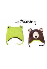 Flapjack Kids Frog/Brown Bear Reversible Hat