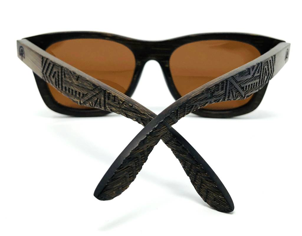 Wildwood Eyewear Wildwood Youth Dark Bamboo Wayfarer Polarized Sunglasses