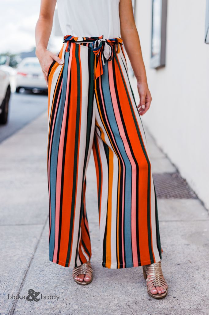 Karlie Multi Stripe Highwaisted Tie Pant