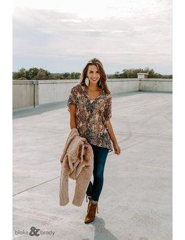 Karlie Snake Chiffon V-Neck Tunic