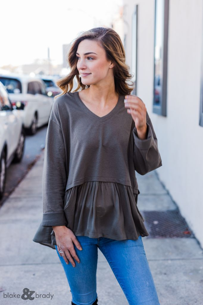 V-Neck Hoodie Tiered Hem Top