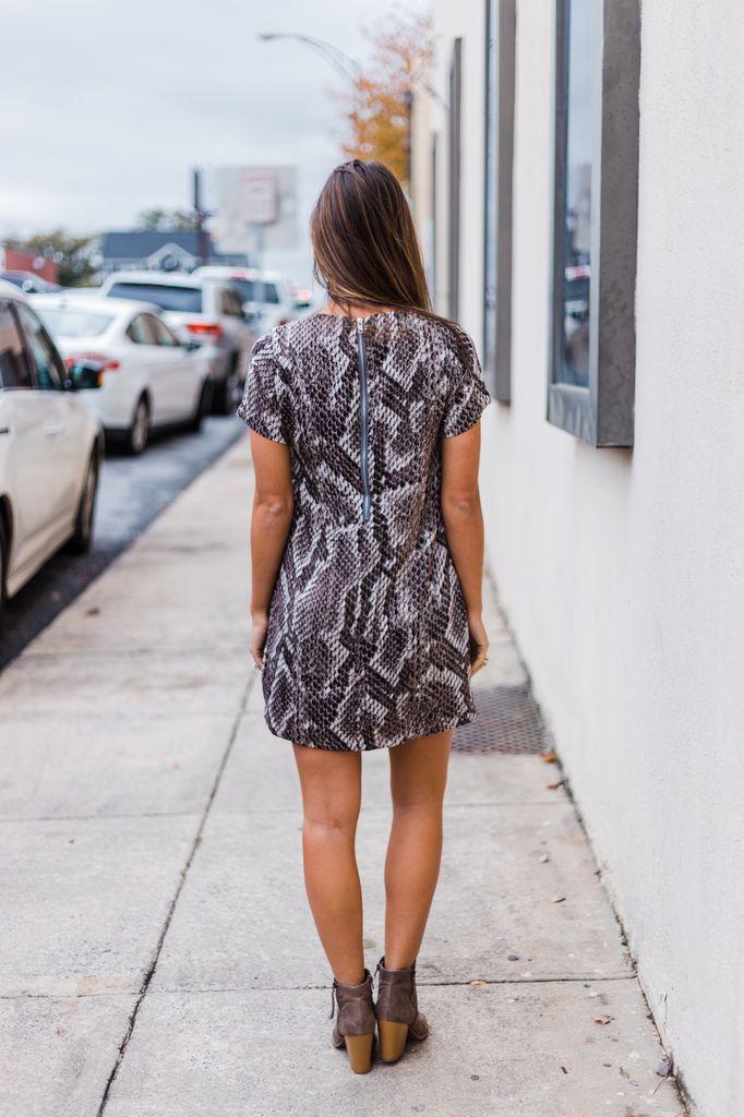 Karlie Snake Zip Back Dress