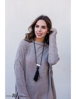 Leather Tassel and Stone Necklace