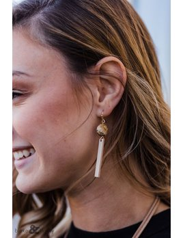 Stone Circle and Wood Bar Earrings