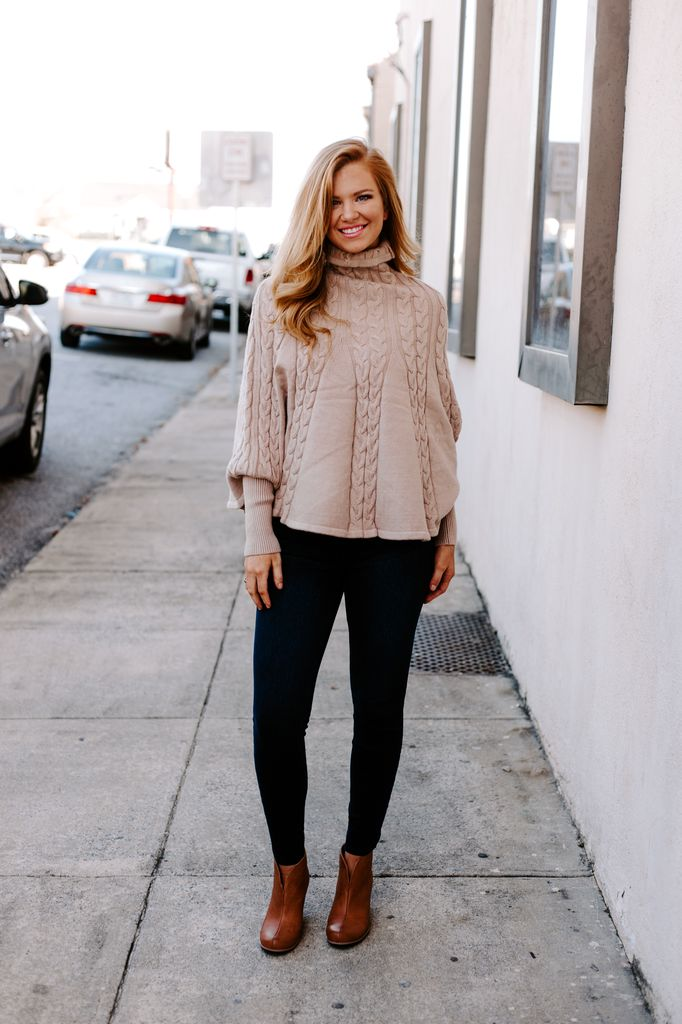 Cable Knit Cape Sweater Poncho