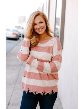 Distressed Chunky Striped Color Block Sweater