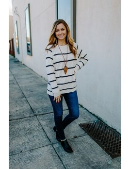 Ribbed Striped Round Neck Sweater