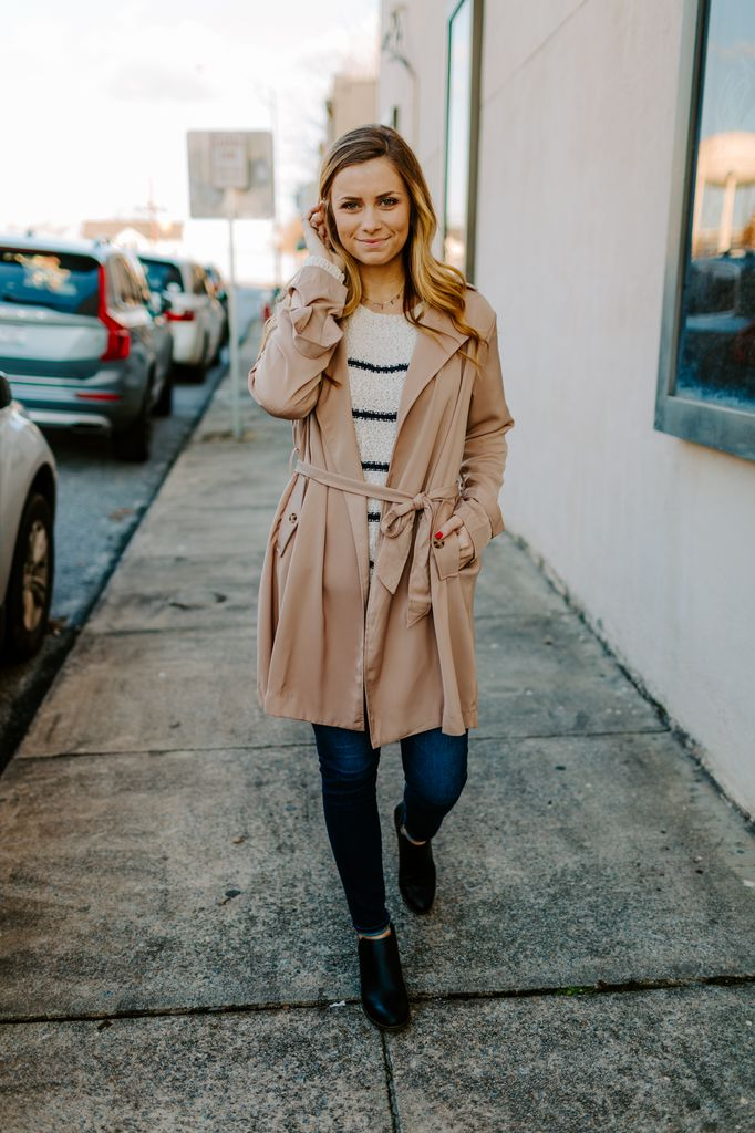 Trench Coat with High Waist Tie